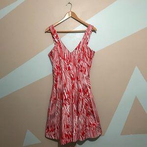 CALVIN KLEIN Red & White Halter Flare Dress